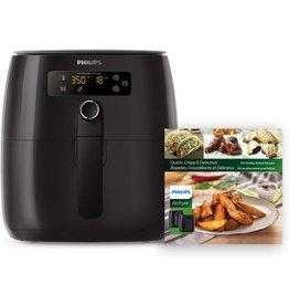 Philips Kitchen Appliances Philips Kitchen Appliances Premium Digital Airfryer with Fat Removal Technology + Recipe Cookbook, 3 qt, Black, HD9741/99, X-Large