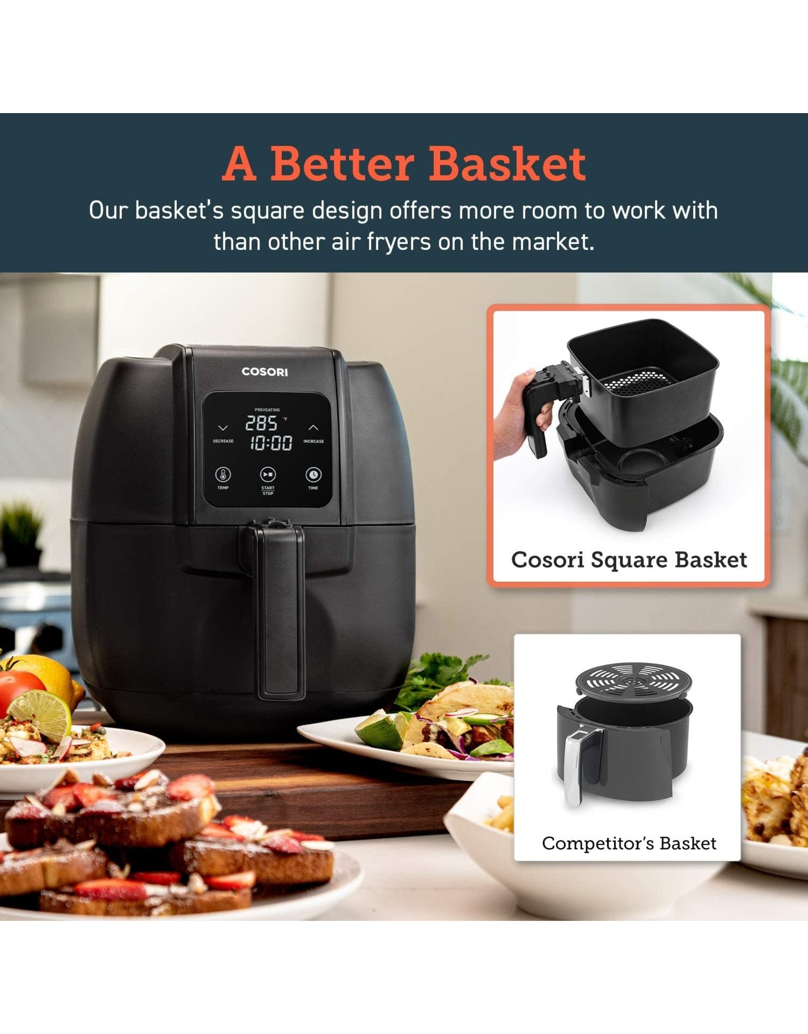 COSORI COSORI CO134-AF Air Fryer, Oilless Oven Cooker with 8 menus LED Digital Touchscreen, Preheat, Detachable Nonstick Basket,1500W, 3.4QT, BLACK