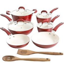 Kenmore Kenmore Arlington Nonstick Ceramic Coated Forged Aluminum Induction Cookware with Bakelite Handles, 12-Piece Set, Metallic Red