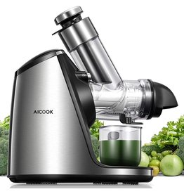 AICOOK AICOOK Juicer Machines, 3in Large Feed Chute, Stainless Steel Slow Masticating 200W Easy to Clean, Ceramic Auger Makes High Nutritive Fruit&Vegetable Juice, Ice Cream ACC&Juice Recipes Included