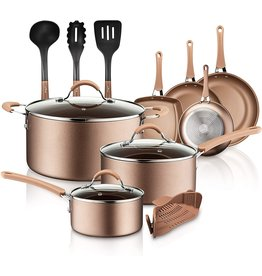 NutriChef NutriChef 14-Piece Nonstick Cookware PTFE/PFOA/PFOS-Free Heat Resistant Lacquer Kitchen Ware Set w/Saucepan, Frying Pans, Cooking, Dutch Oven Pot, Lids, Utensil NCCW14S, AGold