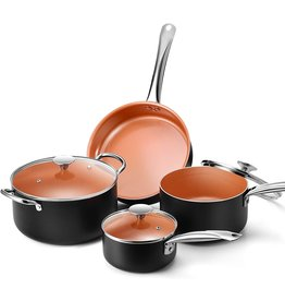 KOCH SYSTEME CS Copper Nonstick Cookware Set - Pans and Pots, All Stove Tops Compatible, Oven-Safe, Multi-Ply, Ceramic Coating, PTFE-free, PFOA-free, Stainless Steel Handle, for Stew Boil Fry and Saute, 7 Piece