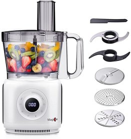 MAGICCOS 7-in-1 Food Processor, MAGICCOS 14 Cup Digital Food Chopper, 7 Variable Speeds Plus Pulse, 1000Watt, Chopping Kneading Shredding Slicing and Mashing Blades, Pearl White Coating