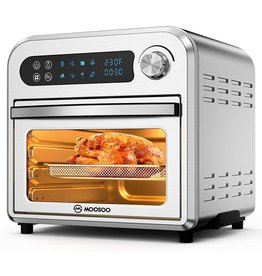 MOOSOO MOOSOO Air Fryer Oven, 10.6 QT Air Fryer Toaster Oven Combo with Digital Screen, 8 in 1 Convection Oven with Dehydrator, Bake, Broil, Less Oil, Temp/Time Dial, Stainless Steel,4 Accessories,100 Recipe