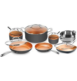 GOTHAM STEEL Gotham Steel Pots and Pans Set 12 Piece Cookware Set with Ultra Nonstick Ceramic Coating by Chef Daniel Green, 100% PFOA Free, Stay Cool Handles, Metal Utensil & Dishwasher Safe - 2020 Edition