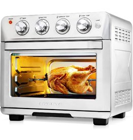 OVENTE Ovente Stainless Steel Multi-Function Air Fryer Toaster Oven Combo 26 Quart with Accessories, 1700 Watt Countertop Rotisserie Convection Oven & Dehydrator for Chicken Pizza Veggie, Silver OFM2025BR