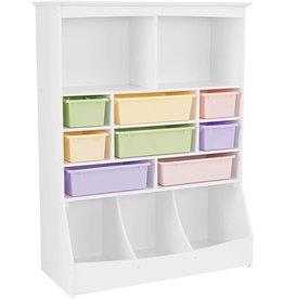 "KidKraft KidKraft Wooden Wall Storage Unit with 8 Plastic Bins & 13 Compartments - White, 53"" x 20"" x 8"""