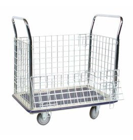 """Wesco Wesco Industrial Products 270456 Steel Wire Caged Platform Truck, Rubber Wheels, 660Pound Capacity, 23"""" Width x 35"""" Length"""