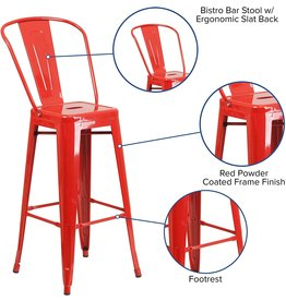 """Flash Furniture Flash Furniture Commercial Grade 4 Pack 30"""" High Red Metal Indoor-Outdoor Barstool with Removable Back"""