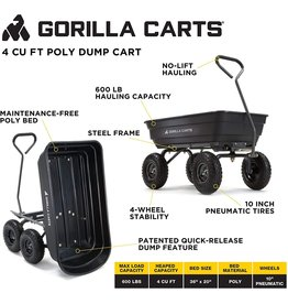 Gorilla Carts Gorilla Carts GOR4PS Poly Garden Dump Cart with Steel Frame and 10-in. Pneumatic Tires, 600-Pound Capacity, Black