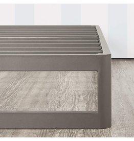 "Mellow Mellow 9"" Metal Platform Bed Frame w/Heavy Duty Steel Slat Mattress Foundation (No Box Spring Needed), King, Gray"