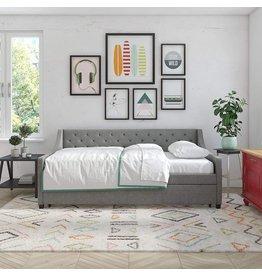 Novogratz Novogratz Her Majesty Upholstered Daybed with Trundle, Twin Size Frame, Grey Linen