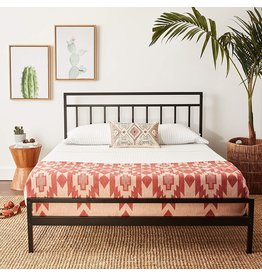 Mellow Mellow Mission - 10 Inch Metal Platform Bed with Headboard, Patented Wide Steel Slats, Easy Assembly, Queen, Black
