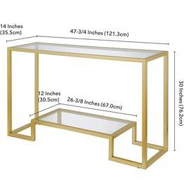 Henn&Hart Henn&Hart Modern Entryway, Accent Glass Shelf for Hallway, Sofa Living Room, Easy Assembly Console Table, 1, Gold