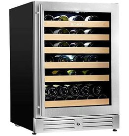 SIPMORE Wine Cooler Built-in Multi-Size Bottle, TS-1 series Wine refrigerator, Double-Layer Tempered Glass Door, Stainless Steel, Front Ventilation (24 Inch 51 Bottles)
