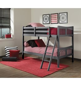 Stork Craft Storkcraft Caribou Solid Hardwood Twin Bunk Bed with Ladder and Safety Rail, Gray