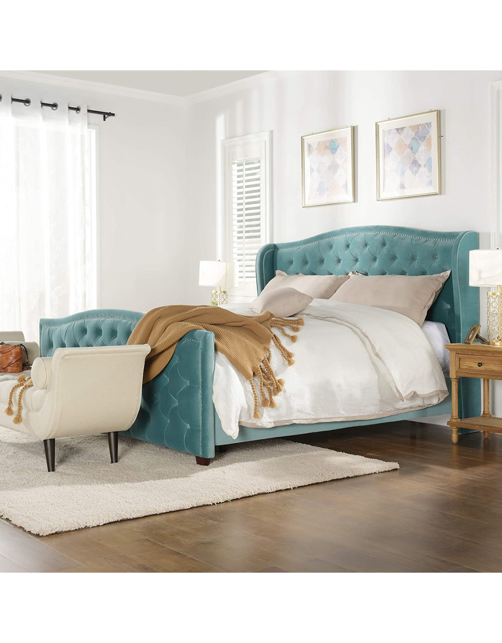 Jennifer Taylor Home Jennifer Taylor Home Marcella Tufted Wingback Bed, King, Arctic Blue