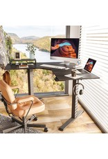 FEZIBO FEZIBO Dual Motor L-Shaped Electric Standing Desk, 48 Inches Height Adjustable Corner Desk, Full Sit Stand Home Office Table with Splice Board, Black Frame/Black Top