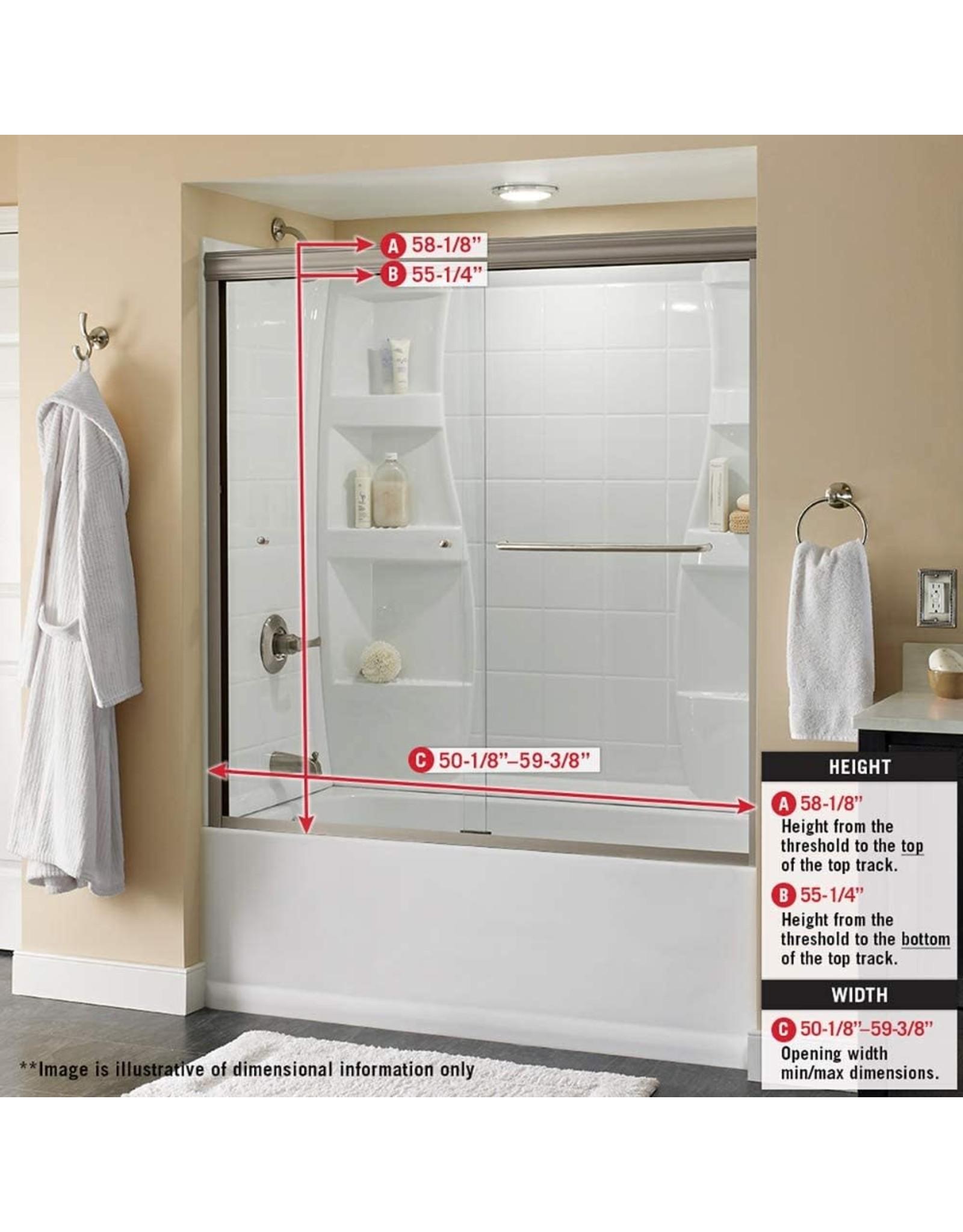 "Delta Shower Doors Delta Shower Doors SD3927420 Classic Semi-Frameless Traditional Sliding Bathtub 60"" x58-1/8, Bronze Track"
