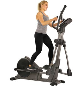 Sunny Health & Fitness Sunny Health & Fitness Magnetic Elliptical Trainer Machine w/Device Holder, Programmable Monitor and Heart Rate Monitoring, 330 LB Max Weight - SF-E3912, Silver