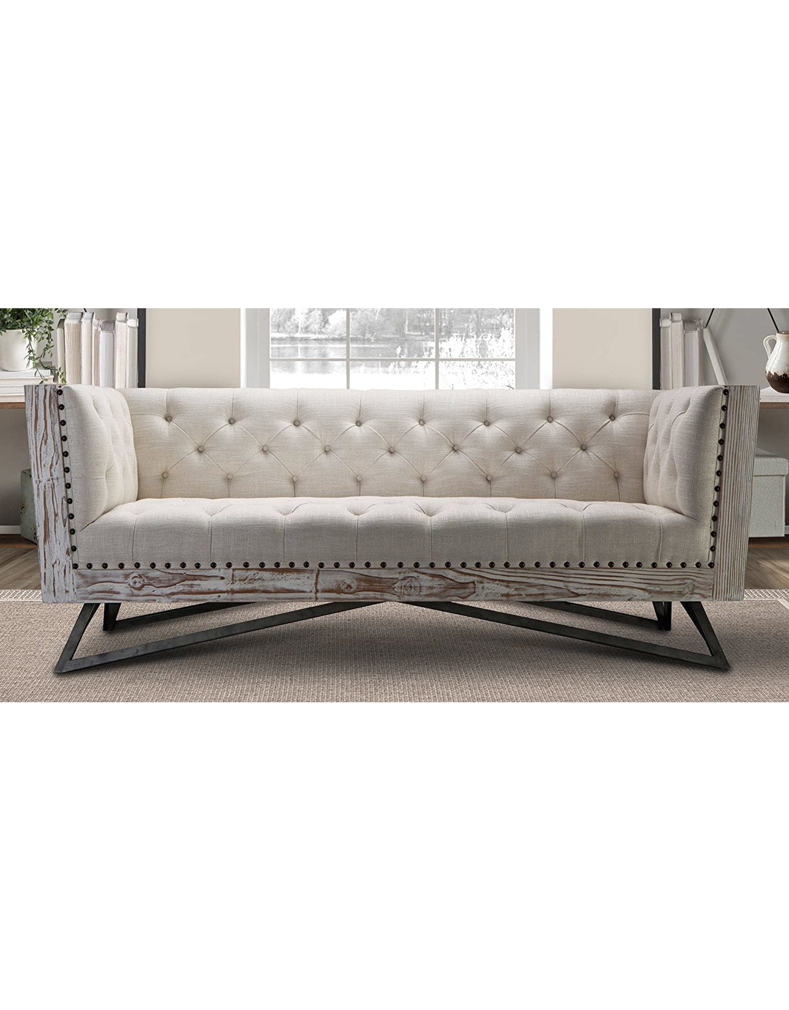 Armen Living Armen Living Regis Sofa in Cream and Gunmetal Finish