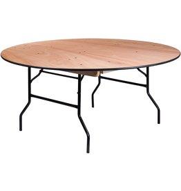 Flash Furniture Flash Furniture 66 RND Natural Wood Fold Table, Brown