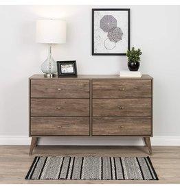 Prepac Prepac Milo Mid Century Modern Dresser, 6-Drawer, Drifted Gray