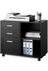 DEVAISE DEVAISE 3-Drawer Wood File Cabinet, Mobile Lateral Filing Cabinet, Printer Stand with Open Storage Shelves for Home Office, Black