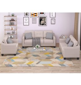 AUKUYEE AUKUYEE 3 Psc Living Room Sofa Set 3-seat Couch, Loveseat and Armchair with Rivet Tufted Cushions, Beige