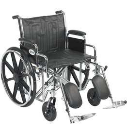 Drive Medical Drive Medical Sentra EC Heavy Duty Wheelchair with Various Arm Styles and Front Rigging Options, Black, Bariatric, 22 Inch