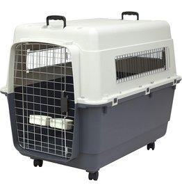 SPORT PET SportPet Designs Plastic Kennels Rolling Plastic Wire Door Travel Dog Crate, XXL