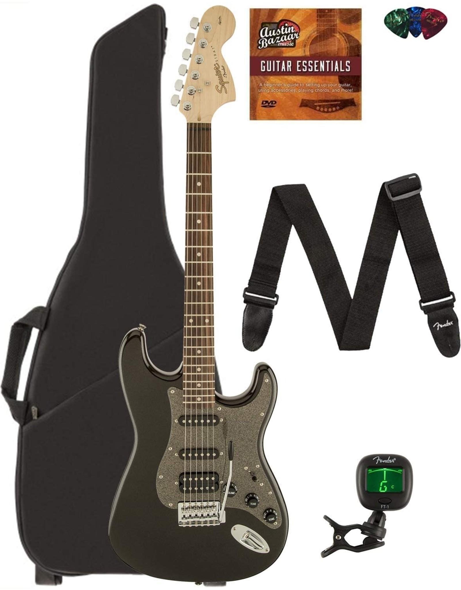 Fender Fender Squier Affinity Stratocaster HSS - Montego Black Metallic Bundle with Gig Bag, Tuner, Strap, Picks, and Austin Bazaar Instructional DVD