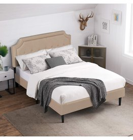 VECELO VECELO Premium Upholstered Platform Bed Diamond Stitched Panel Headboard, Metal Frame & 12 Strong Wood Slat Support, Mattress Foundation/Easy Assembly,Full,Beige