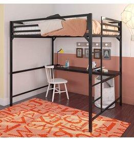DHP DHP Miles Metal Full Loft Bed with Desk, Black
