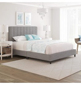 Boyd Sleep Boyd Sleep Leah Upholstered Vertical Tufted Platform Bed with Headboard and Strong Wood 13-Slat Supports, Grey, King Size