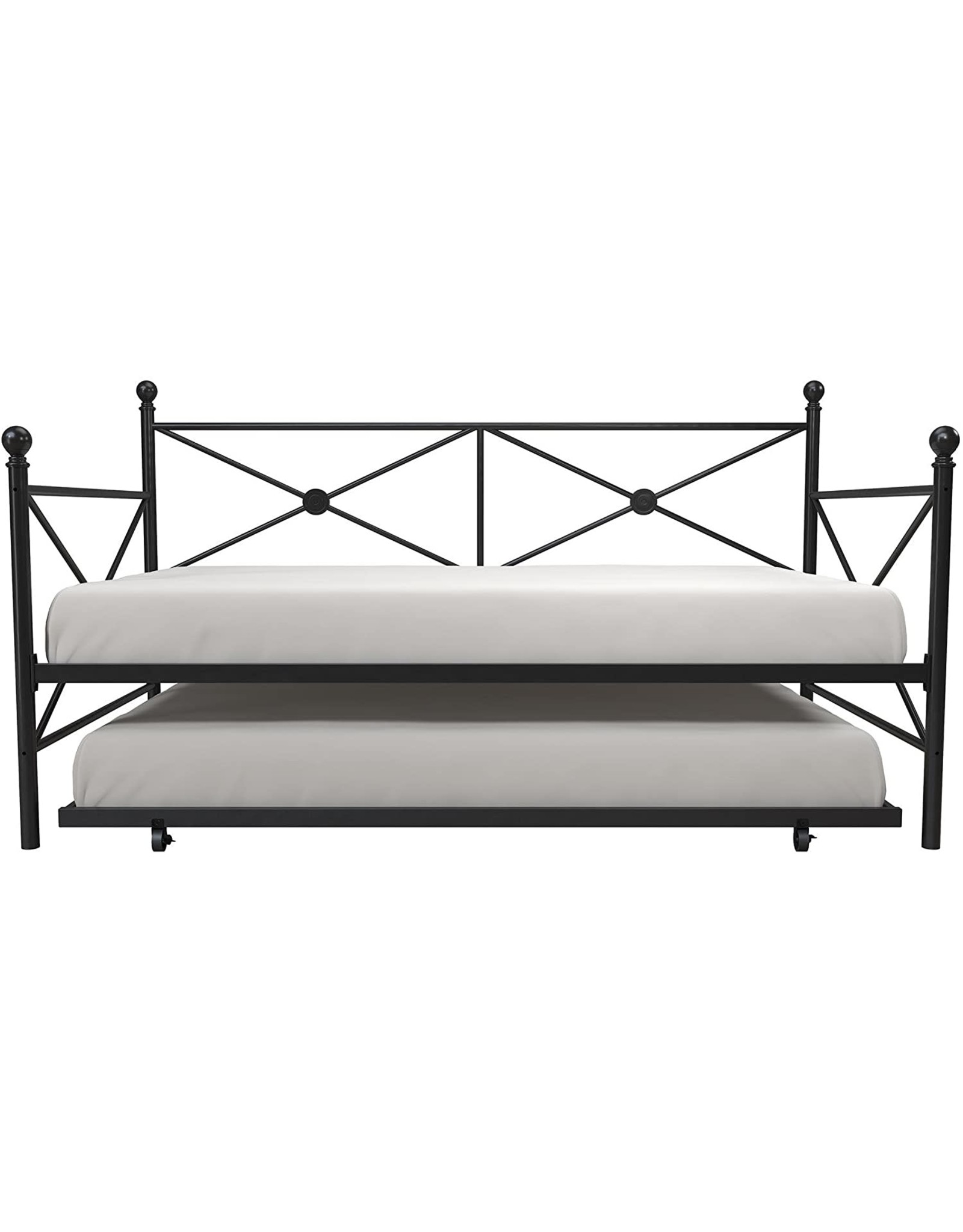 DHP DPH Metal Daybed with Roll Out Trundle, Twin