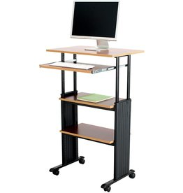 """Safco Products Safco Products Muv 35-49""""H Stand-Up Desk Adjustable Height Computer Workstation with Keyboard Shelf, Cherry"""