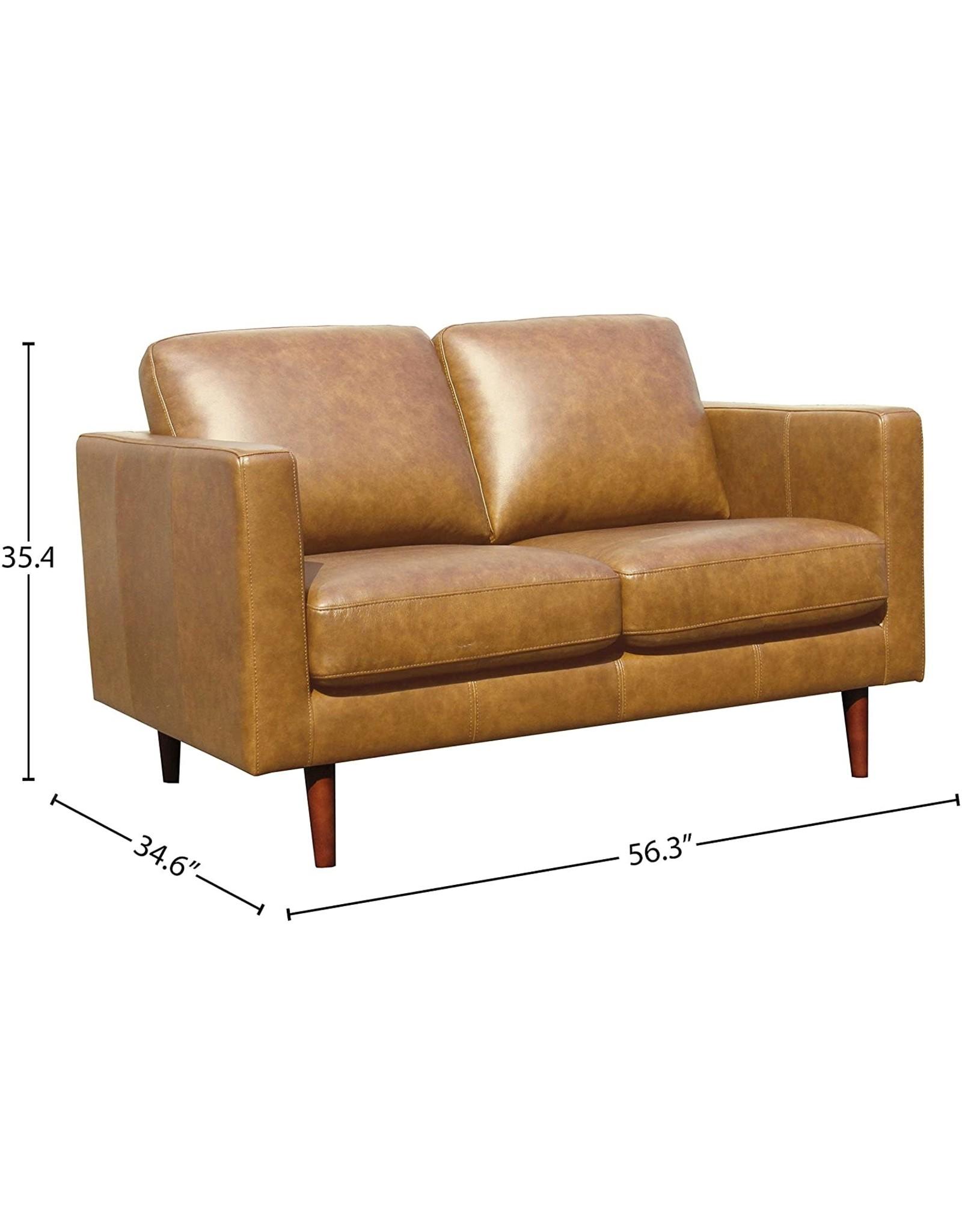 """Rivet Amazon Brand – Rivet Revolve Modern Leather Loveseat Sofa, 56""""W, Caramel"""