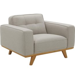 "Rivet Amazon Brand – Rivet Bigelow Modern Oversized Accent Chair with Wood Base, 44.1""W, Light Grey / Blonde"