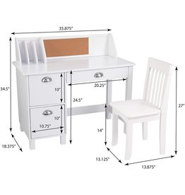 KidKraft KidKraft Wooden Study Desk for Children with Chair, Bulletin Board and Cabinets, White ,Gift for Ages 5-10