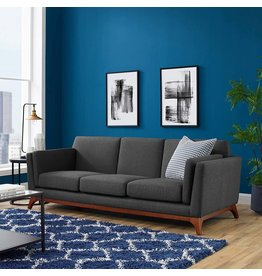 Modway Modway Chance Mid-Century Modern Upholstered Fabric Sofa In Gray