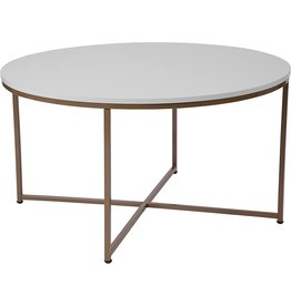 Flash Furniture Flash Furniture Hampstead Collection White Coffee Table with Matte Gold Frame
