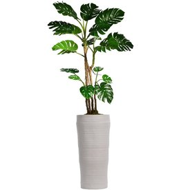 """Vintage Home Vintage Home Green Emerald Artificial Faux Monstera Ceriman Plant with White Resin Planter for Home Decor, 93"""""""