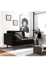 DHP DHP Nola Mid Century Modern Upholstered Daybed and Chaise, Multifunctional and Versatile, Black Velvet