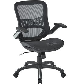 Space Seating Office Star Mesh Back & Seat, 2-to-1 Synchro & Lumbar Support Managers Chair, Black
