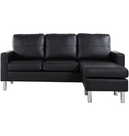 Divano Roma Furniture Modern Bonded Leather Sectional Sofa - Small Space Configurable Couch - Black