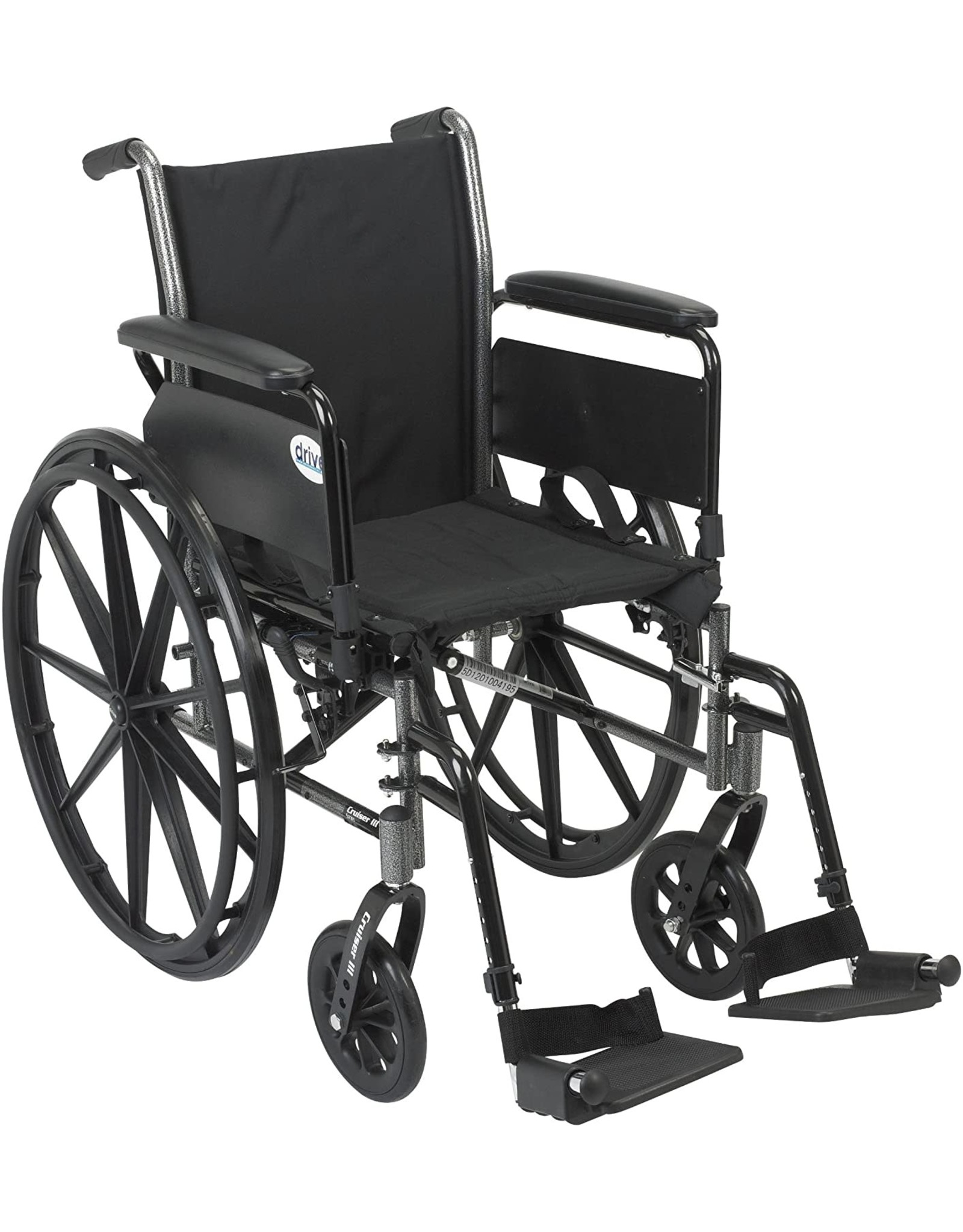 Drive Medical Drive Medical Cruiser III Light Weight Wheelchair with Various Flip Back Arm Styles and Front Rigging Options, Flip Back Removable Full Arms/Swing away Footrests, Black, 20 Inch