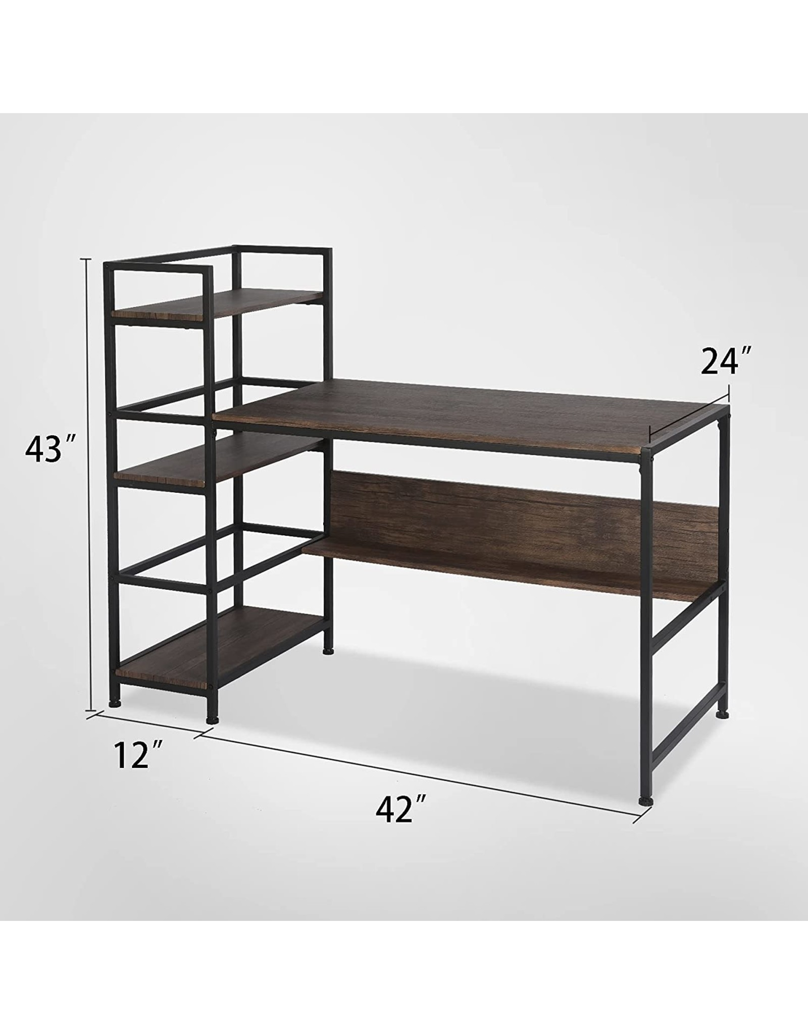 FHY FHY Computer Desk 54 inch with 3 Storage Shelves for Home Office,with Wooden Bookshelf for Study Writing Table,Modern Simple Style, Rustic Oak