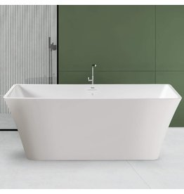 """FerdY FerdY Sentosa 59"""" Acrylic Freestanding Bathtub, Contemporary Design Soaking Tub with Brushed Nickel Drain and Minimalist Linear Design Overflow, Easy to Install, 02560"""