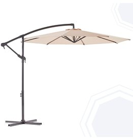 BLUU BLUU BANYAN 10 FT Patio Offset Umbrella Outdoor Cantilever Umbrella Hanging Umbrellas, Fade Resistant & Waterproof Solution-dyed Canopy Fabric with Infinite Tilt, Crank & Cross Base (Beige)